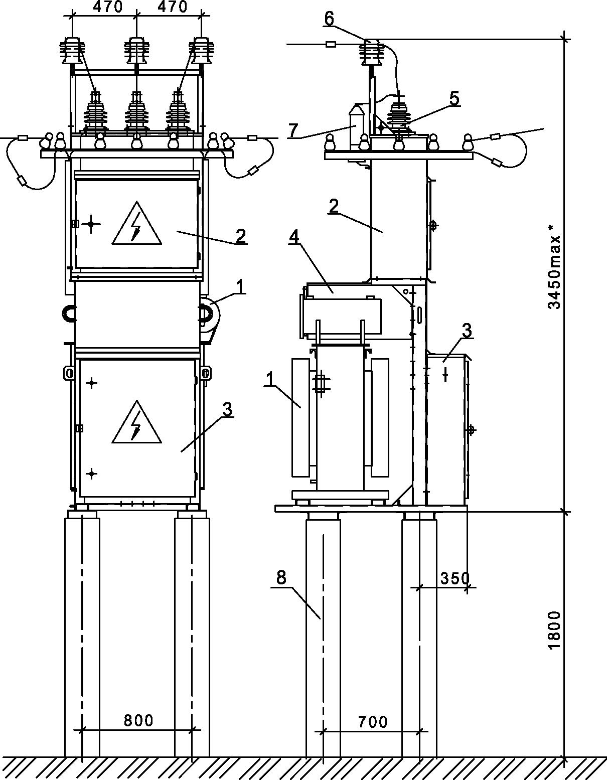 Внешний вид КТПШ на пасынках (стойках УСО)